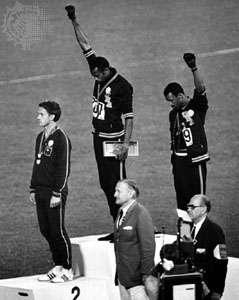 Tommie Smith American John Carlos fists Olympic 1968